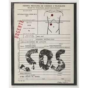 PAULO BRUSCKY - Arte Postal. 1977. Obra consta de duas lâminas com carimbo, furos contornados com hidrocor. Edição de 200, este o exemplar 82. Dimensões: 23 x 18cm. Assinado e numerado com canto inf. direito.