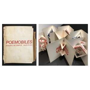 JULIO PLAZA e AUGUSTO DE CAMPOS - Poesia Concreta. 7 Obras da 1a. Edição do álbum POEMOBILES de 1974. (Exemplares POEMOBILIES do álbum de tiragem No. 204). Tamanho: 21 x22cm (ângulo de 45 graus). 21 x 32cm 100% aberto. Obra apresenta alguns pontos de oxidação.