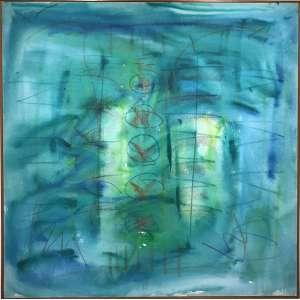 ARTUR BARRIO - Óleo sobre tela. Dimensões: 100 x 100cm. Assinatura noc anto superior esquerdo e no verso. Ano: 1987. Moldura baguete.