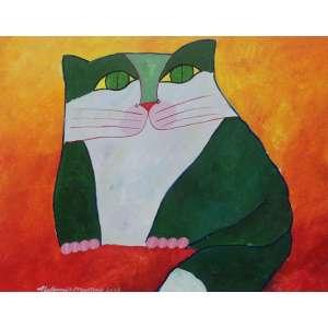 ALDEMIR MARTINS, Gato - Acrílica sobre tela - 40X50 cm - ACIE 2003 (Com documento)