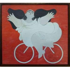 MILTON DA COSTA, Menina e bicicleta - Óleo sobre tela - 24x27 cm - Assinado no Verso