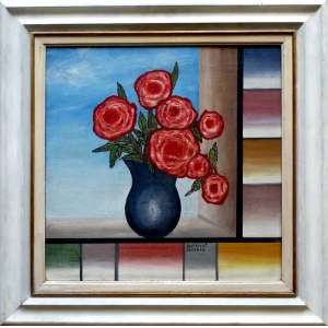 RAMÓN CÁCERES, Vaso de flores - Óleo sobre tela - 50x50 cm - ACID e VERSO 1981-82