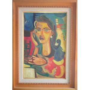 Flavio de Carvalho, Figura de mulher - Óleo sobre tela - 70x45 cm - ACSD 1955<br /><br />
