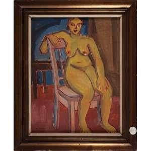 GUIDO TOTOLLI, Nu feminino - Óleo sobre tela - 63x48 cm - ACIE ( Com selo da Galeria Tema Arte Contemporânea )