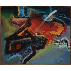 ROBERTO GONÇALVES, Abstrato - Óleo sobre tela - 50x60 cm - ACIE 1980 - ( Com selo da Galeria Tema Arte Contemporânea )