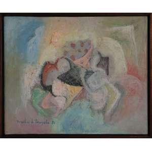 MARTINS DE PORANGABA, Diálogo - Têmpera sobre tela - 45x55 cm - ACIE e VERSO 1984 ( Com selo da Tema Galeria de Arte e com documento )