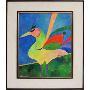 ALDEMIR MARTINS, Pássaro - Acrílica sobre tela - 60x50 cm - ACIE 1989 (Com documento)