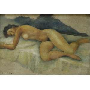Antonio Gomide (1895-1967) - Nu - Óleo sobre tela - 37,5 x 55 cm - 1958 - Assinado e datado embaixo à esquerda