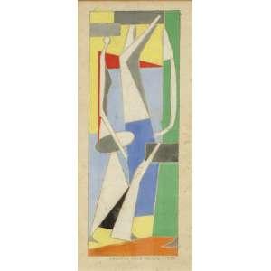 Mário Zanini (1907-1971) - Projeto para painel - Guache - 35 x 13 cm - 1959