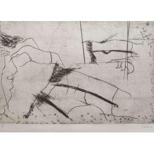 Wesley Duke Lee (1931-2010) - Série das Ligas - Gravura em metal 5/10 - 33 x 50 cm MI e 48 x 66 cm ME - déc. 60 - Assinada embaixo à esquerda e numerada à esquerda.<br />Rara e importante gravura, de baixa tiragem, da mais importante Série do artista.
