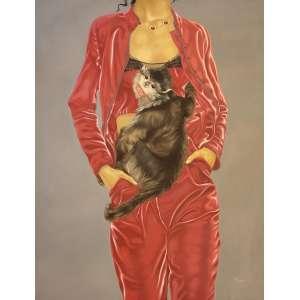 Li Ji - Pet Nº 21: Torso feminino, de vermelho, com macaco cinza pendurado no colo. Óleo sobre tela. Dimensões 159 x 125 cm.