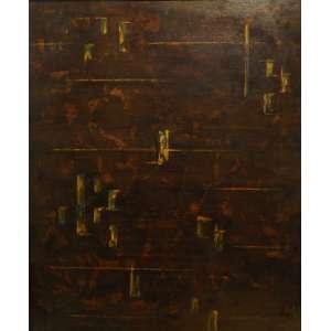 Waldemar da Costa<br>Geometrismo Onirica<br>oleo sobre madeira - 1963 - 65 x 55 - etiquetado atras