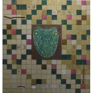 Carlos Rodal<br>Corazon de piedra verde ' auto retrato - Mexicano<br>oleo c madeira sobre tela - 1991 - 190 x 180 - Assinado e datado