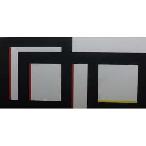 Amilcar de Castro<br>Composição em preto x branco x vermelho x amarelo<br>Acrílica sobre Tela - 1999 - 100 x 200 - Assinado e datado - Catalogado no Instituto Amilcar de Castro sob acervo n˚1488
