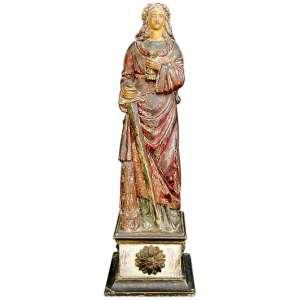 Santa Bárbara - imagem do início do Séc. XIX, em madeira policromada. Alt. 51,5cm.
