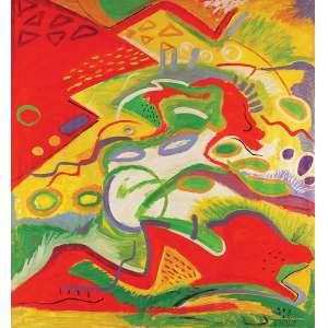 Ana Horta<br>Composição abstrata OST<br>130 x 140 1986 Ass. Verso<br>Cachet no verso - obra nº 18 de 1986