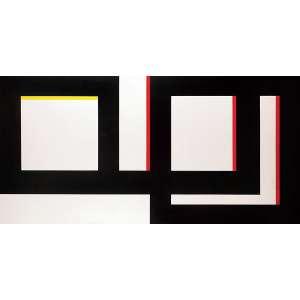 Amilcar de Castro<br>Composição em preto x branco x vermelho x amarelo<br>AST 100 x 200 1999 Ass. Verso<br><br><i>Catalogado no Instituto Amilcar de Castro sob acervo nº 1488</i>