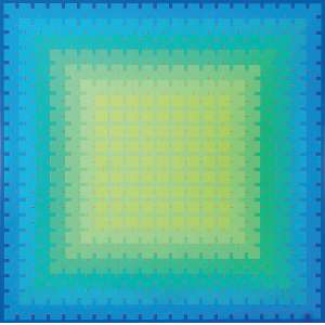 """Julian Stanczak<br>""""Lumina Offering Green"""" <br>AST Acrylic on Canvas 176 x 176 <br>69 ½"""" x 69 ½ """" 1991 Ass. Verso<br><br><i>Carimbo de certificado. Participou de várias retrospectivas do artista em museus americanos.</i>"""
