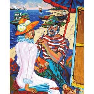 """Inimá de Paula<br>Homenagem à Manet OST<br>130 x 114 1984 ACID<br>Reproduzido na contra capa do livro <br>""""Inimá"""" de Frederico Moraes"""