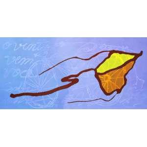 Gilberto Salvador<br />O vento vem... você sobe...- Acrílica sobre tela - 80x160 cm - 2001 - A.V
