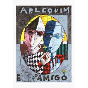 Inos Corradin<br />Arlequim e o amigo - XVII/LX - Serigrafia 70x50 cm - A.C.I.D (sem moldura)