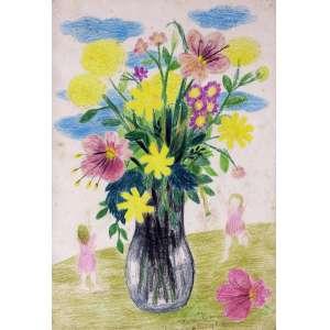 Marysia Portinari<br />Vaso de flores - Crayon sobre papel - 48x33 cm - A.C.I