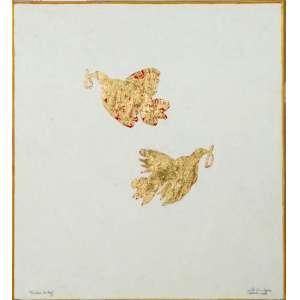 Júlio César Lopes, Pombos da Paz, Óleo e folha de ouro sobre madeira, medindo 110 x 100 cm, assinada, datado 2003, intitulado, CID.