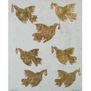 Julio César Lopes, Pombos da Paz II, Óleo e folha de ouro sobre madeira, medindo 110 x 90, assinado
