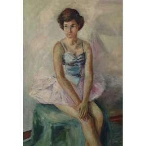 Wega Nery, Bailarina, Óleo sobre tela, medindo 91 x 64 cm, datada 1950, assinada V.Gomes, CID. Ex-coleção Sebastião Gomes Pinto, filho da artista.
