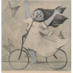 Milton Dacosta, Menina e bicicleta, Gravura, medindo 55 x 55 cm, assinada e datada CID, numerada 147/150.