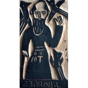 J. Borges, São Francisco, Matriz de xilogravura, medindo 16 x 10 cm, assinada.