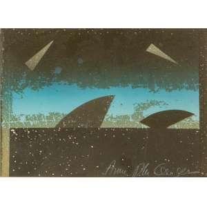 Anna Bella Geiger, Sem Título, Pintura sobre cartão, medindo 15 x 22 cm, assinada CID.