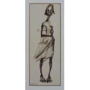 Regina Silveira. Desenho, medindo 43 x 16 cm, assinado Cie.