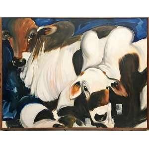 Humberto Espíndola, Bovinocultura, Óleo sobre tela , medindo 75 x 100 cm, assinado e datado 1984, CID.