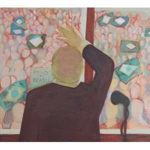 Katie Van Scherpenberg - Mildrid Catharina van Scherpenberg, Pátria Amada #2, Têmpera e óleo s/tela, medindo 90 x 100 cm, assinado CSD. Com selo do I Salão Nacional de Artes Plásticas – Funarte.