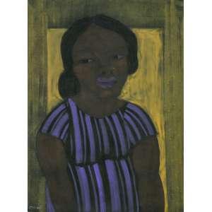 Josafá Neves, Moça de Roxo, Óleo sobre tela, medindo 67 x 90 cm, assinado CIE.