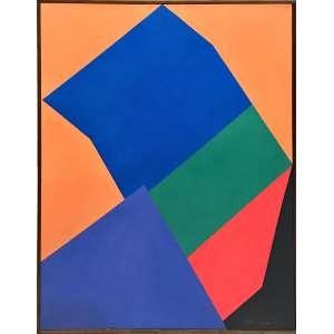 Judith Lauand, Geométrico, Óleo sobre tela, mendindo 60 x 50 cm, assinada e datada 1994, CID e Verso.