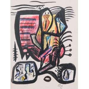 Athos Bulcão, Sem Título, Pintura sobre cartão, medindo 22 x 18 cm, assinado e datado 1940, CID.
