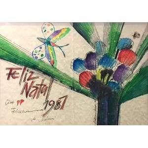 Aldemir Martins, Feliz Natal, Nanquim, Aquarela e colagem sobre cartão, 24,5 x 36 cm , assinado e datado 1980. Com dedicatória Cida Feliz Natal 1981.