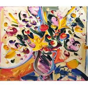 Sou Kit Gom, Conmposição com Flores, Óleo sobre tela, 80 x 80 cm. Assinado CIE.