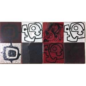 ROBERTO BURLE MARX. Raríssimos azulejos originais com desenhos confeccionados pela GEA Cerâmica (década de 70) para composição de painéis do artista. Quadro contendo oito peças 10x10 cm cada, emoldurada.