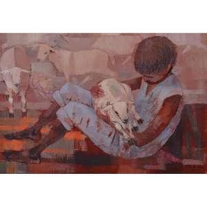BIANCO, Enrico (1918 - 2013)<br />Menino com carneiro, 1979<br />óleo s/ eucatex<br />25 x 35 cm<br />ass. inf. direito<br />Reproduzido no livro do artista na pág. 238, figura 1170.