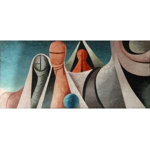 Walter Lewy (Bad Oldesloe, Alemanha 1905 - São Paulo SP 1995)<br />55x1,20 o.s.t. Surreal, 1965<br />Procedência Galeria Don Quixote - RJ