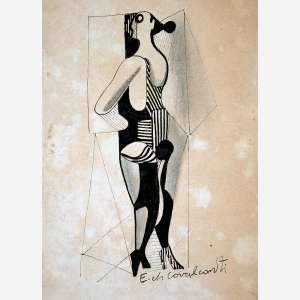 Di Cavalcanti<br>Figura de Mulher <br>Nanquim sobre Papel<br>17 x 12 cm.