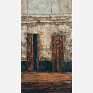 José Paulo Moreira da Fonseca <br>Uma Velha Casa Dignamente Ébria de Lembranças <br>Óleo sobre placa<br>49 x 27,5 cm.