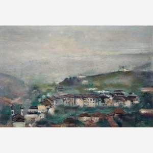 Guignard<br>Ouro Preto <br>Óleo sobre madeira<br>40 x 60 cm