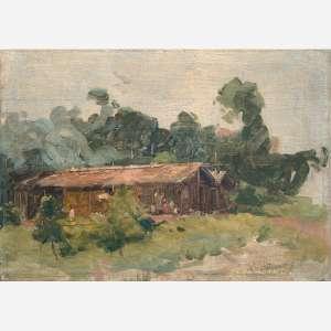 Eliseu Visconti<br>Óleo sobre madeira<br>24 x 35 cm.