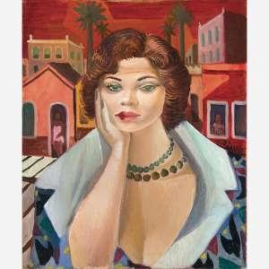 Di Cavalcanti<br>Mulher das Casas Vermelhas. <br>Óleo sobre tela<br>65 x 54 cm.