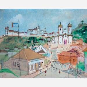 Guignard<br>Ouro Preto. <br>Óleo sobre madeira<br>40 x 50 cm