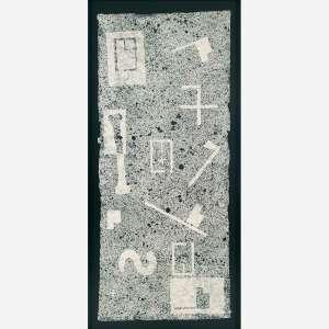 Antônio Dias<br>Nanquim e colagem em papel Nepal.<br>153 x 72 cm.